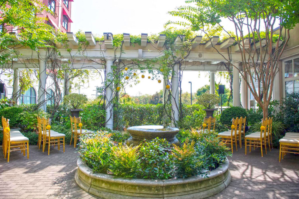 Wedding in the Cloister Garden at O.Henry Hotel in Greensboro, NC