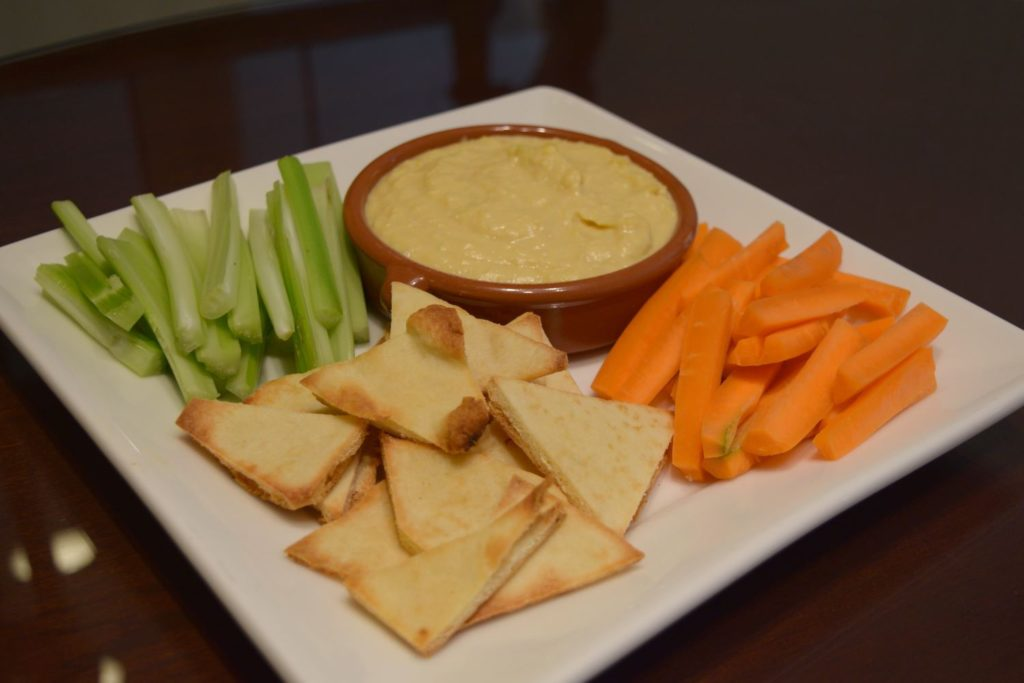 Hummus and Pita slices with Vegetables Add-On Amenity at O.Henry Hotel in Greensboro, Nc