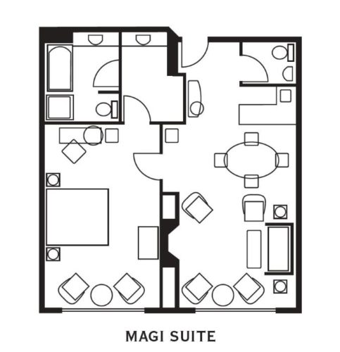 Magi Suite Layout at O.Henry Hotel in Greensboro, NC
