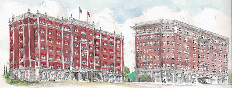 The current O.Henry Hotel on the left with the original on the right, by our artist-in-residence Chip Holton.