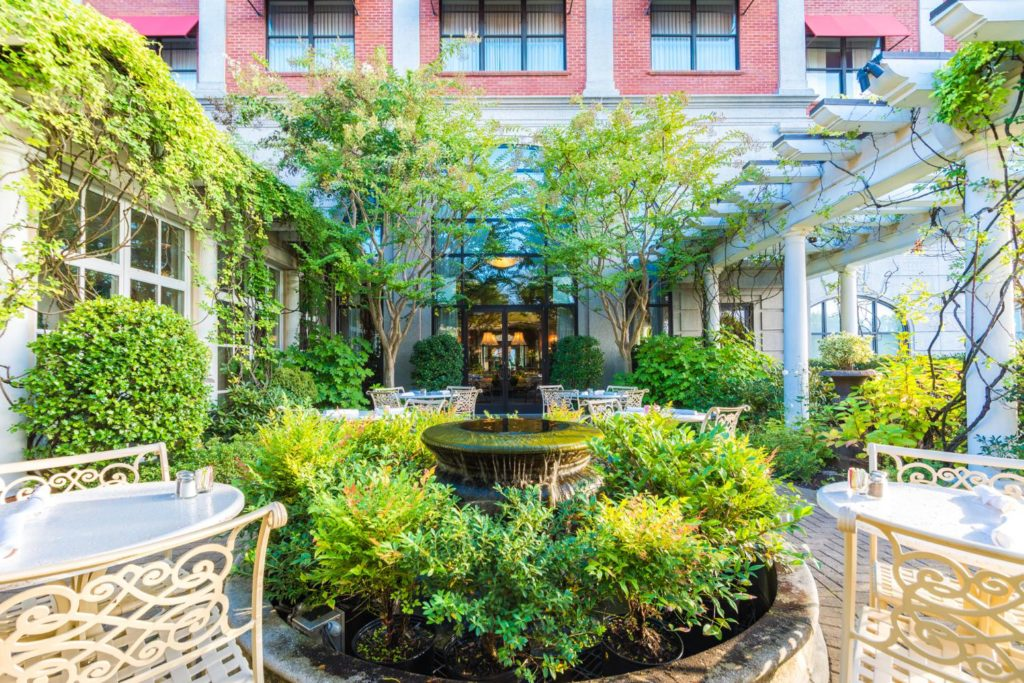 The Don Rives Cloister Garden at O.Henry Hotel in Greensboro, NC