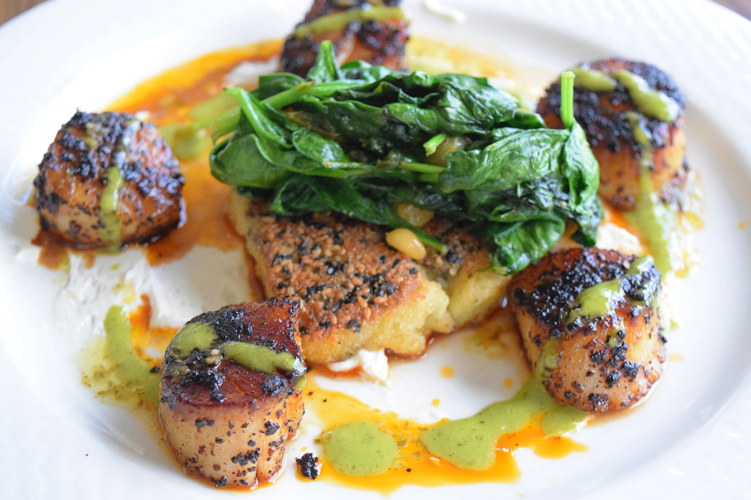 Black Urfa Pepper Dusted Scallops Green Valley Grill