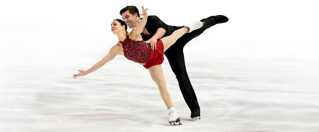 Figure skating couple in competition