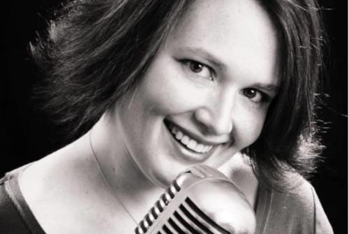 Erin Strickland Vocalist black and white photo
