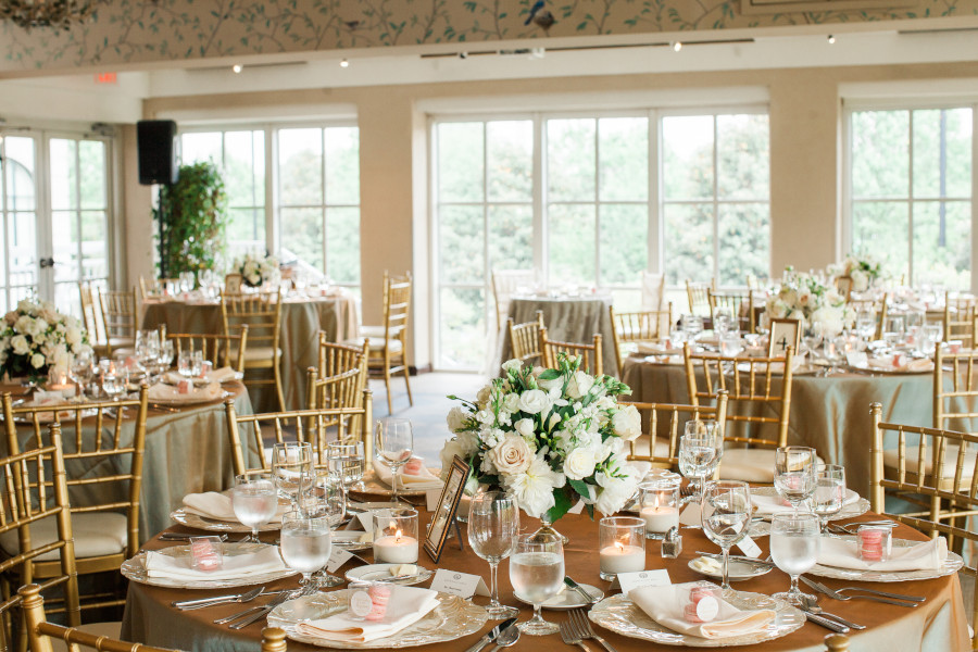 Weddings at O.Henry Hotel with Stephanie and Tim's Gold Tablescapes in the Pavilion