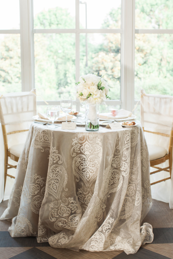Weddings at O.Henry Hotel with Stephanie and Tim's Upgraded Linens on their Sweetheart Table