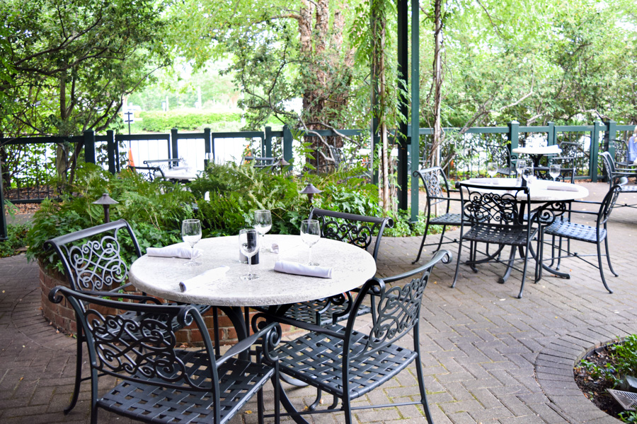 Green Valley Grill Courtyard with socially distant tables
