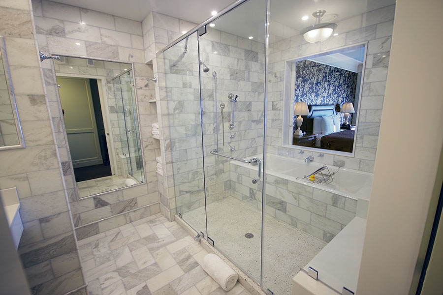 Marble Walk In Shower and Tub - Magi Suite - O.Henry Hotel
